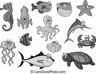 Fishes and ocean animals cartoon vector icons - Cartoon sea...