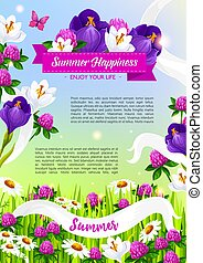 Summer holiday vector poster of blooming flowers