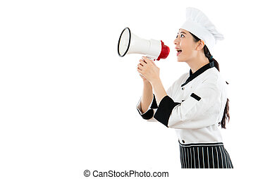 asian beautiful chef standing on the white wall