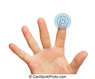 Male hand touching power button - A close up of a male hand...
