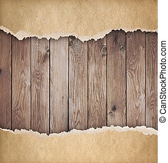 Wood background with torn paper 3d illustration