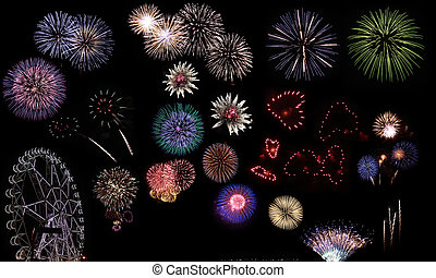 Fireworks festival - Fireworks collage with seamless black...