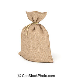 3d rendering of burlap bag isolated on white background.