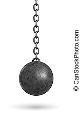 3d rendering of an ink black wrecking ball hanging from a...