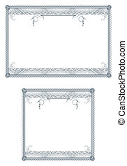 Blank guilloche borders for diploma or certificate - Two...