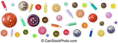 Seamless pattern - color old-fashioned buttons