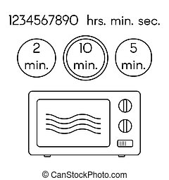 Cooking signs, for manuals on packing. Preparing microwave instruction icons set.
