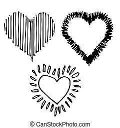 set of design heart shaped