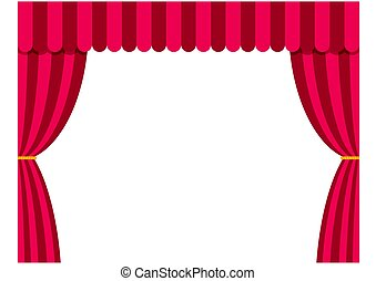 Stage curtains isolated on white background in flat style....