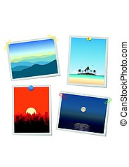 Photo of landscape, mountains, island, city and sea. Cards...