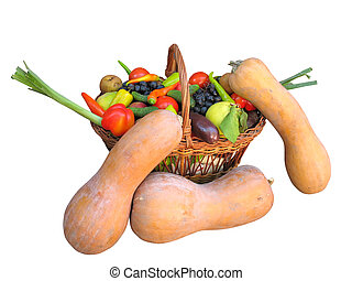 Fresh Vegetables, Fruits and other foodstuffs Isolated -...