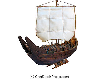 Wooden Antique ship isolated over white