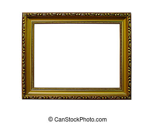 Old antique gold frame with pattern isolated over white