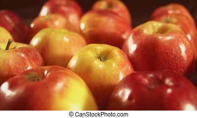 Close up red apple. Colored fruits for better healthy. 4k...