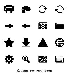 Vector black browser icons set
