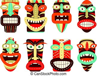 Set of tiki tribal mask - Collection of tiki tribal mask....