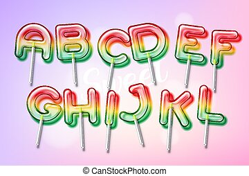 Lollipop sweet candy colorful alphabet font with...