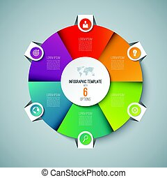 Infographic pie chart circle template with 6 options. Can be...
