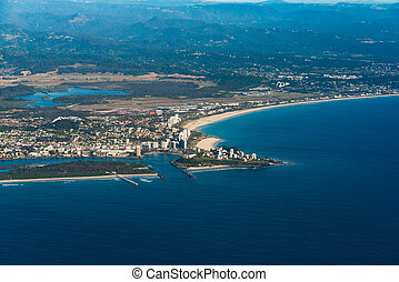 Aerial view of Coolangatta town and Geenmount beach. Gold...