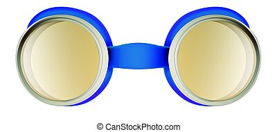 Weird safety goggles isolated on white - Blue plastic weird...