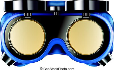 Welder safety glasses isolated on white - Blue welder safety...