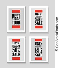 Flat modern sale posters. Best shopping tour. Special...