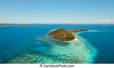 Aerial view tropical lagoon,sea, beach. Tropical island....