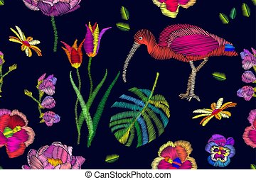 Seamless vector pattern with embroidered parrot, toucan and...
