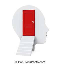 Human Head With an Close Door isolated on white background....