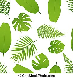 Tropical seamless pattern with palm and fern. Vector illustration