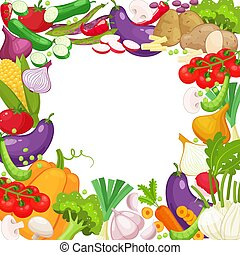 Vector frame of fresh vegetables for your design. Raw...