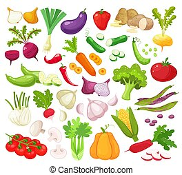 Raw vegetables with sliced isolated realistic icons with pepper eggplant garlic mushroom courgette tomato onion cucumber vector illustration