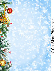 Christmas Tree Decoration Over blue background