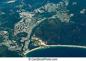 Aerial view of Noosa Heads. Sunshine Coast, Australia -...