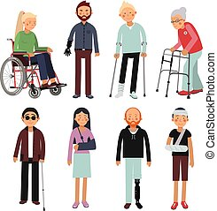 Flat style illustration set of disabled people in different poses. Vector pictures of hospital patients isolated