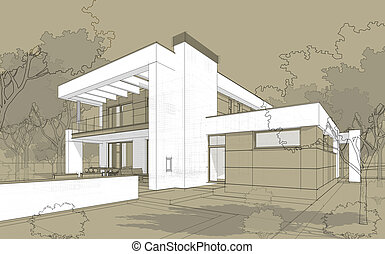 3D render sketch of modern cozy house in chalet style - 3D...