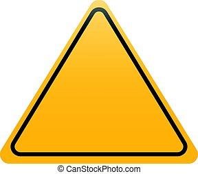 Yellow triangle road sign isolated on white