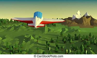 Low poly landscape with airplane.
