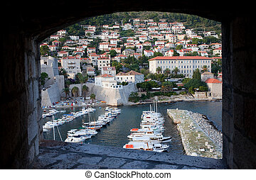 Dubrovnik Marina and City - Framed view from city walls on...