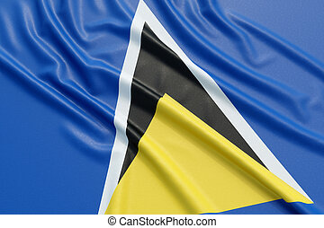 Saint Lucia flag. Wavy fabric high detailed texture. 3d...