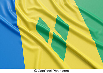 Saint Vincent and the Grenadines flag. Wavy fabric high...