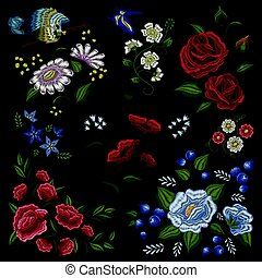 Floral Embroidery Folk Fashion Pattern - Traditional floral...