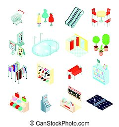 Shopping Mall Isometric Icons Set - Shopping mall elements...