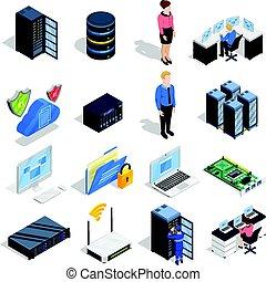 Datacenter Elements Icon Set - Datacenter isometric icons...