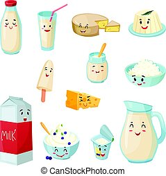 Milk Products With Smiles Cartoon Set - Set of milk products...