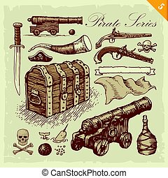 Pirate illustrations - Pirate related set of various vector...