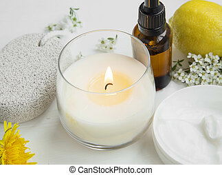 Spa still life candle