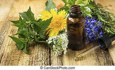 Medicinal plants oil bottle, alternative medicine -...