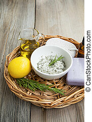 Spa and organic skincare products in wicker tray