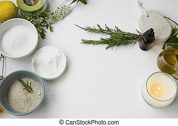 Top view of organic skincare